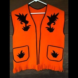 Orange Black Felt Halloween Costume Vest Handmade